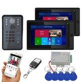 ENNIO 7 polegadas 2 Monitores Wifi sem fio RFID Senha Vídeo porteiro Campainha Intercomunicador com fio IR-CUT 1080P Câmera com fio Visão noturna, Suporte remoto APP desbloqueio, Gravação