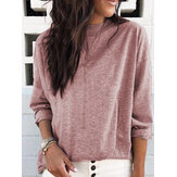 Women Casual Pure Color Long Sleeve T-Shirts