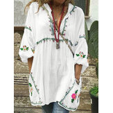Plus Size Women Floral Print V-Neck Loose Casual Blouse with Pockets