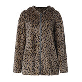 Women Casual Zip Up Leopard Print Hooded Coats