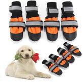 4шт Pet Собака дождь снег Ботинки теплая обувь противоскользящая обувь носок Водонепроницаемы бахилы