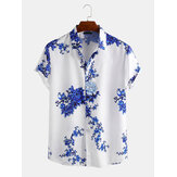 Men Porcelain Floral Print Short Sleeve Relaxed Shirts