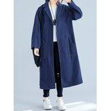 Plus Size Women Turn-down Collar Button Casual Long Coats