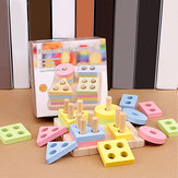 Four Sets Baby Wooden Shape Toys Paired Cognitive Preschool Learning Math Toys