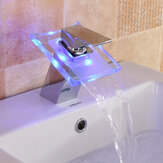 LED Color Changing Waterfall Faucet Bathroom Sink Faucet Glass Basin Bathtub Mixer Tap