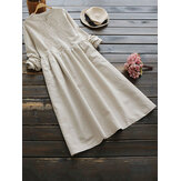 Vintage Women Cotton Solid Color Round Neck Button Vestido de manga longa