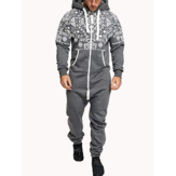 Mens Casual Hooded Loungewear Pure Color Siamese Jumpsuit