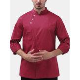 Camicie da lavoro per uomo Pulsanti tinta unita a maniche lunghe da uomo