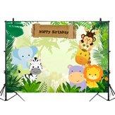 5x3FT 7x5FT 9x6FT Jungle Elephant Lion Joyeux Anniversaire Photographie Toile de Fond Fond Studio Prop