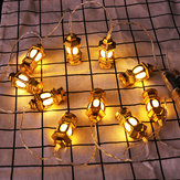 1.65M Gold Oil Lamp Battery Powered 10LED Fairy String Light for Holiday Christmas Indoor Home Decoration