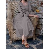 Women Casual Vintage Half Sleeve Party Holiday Long Maxi Dress
