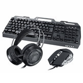 3-In-1 USB Wired 3200DPI Mouse Colorful Headset Rainbow Backlight Mechanical Keyboard Set with Mouse Pad for Desktop Computer Notebook