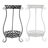 European Wrought Iron Metal Flower Pot Stand Double Floor Plant Rack