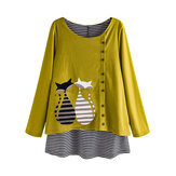 Stripe Cartoon Cat Print Patchwork Blusa de manga comprida