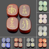4PCS Engraved Usui Reiki Symbol Healing Energy Sanskrit Palm Crystal Stone Set Stone Decorations