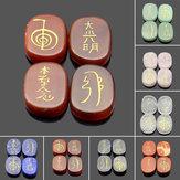4PCS Grabado Usui Reiki Símbolo Energía de sanación Sánscrito Palm Crystal Stone Set Decoraciones de piedra
