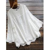 Blusa de manga 3/4 con encaje ahuecado de color puro para mujer