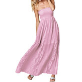 Chic Women Strapless Ruffles Crochet Casual Maxi Dress
