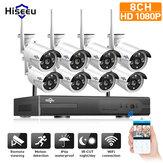 Hiseeu 1080P Draadloze CCTV 8CH NVR Kit Outdoor IR Nachtzicht IP Camera WiFi Camera Beveiliging Surveillance EU Plug
