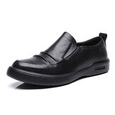 Men Genuine Leather Pure Color Business Casual Flats