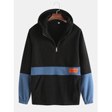 Mens Patchwork Cotton Thick Hooded Sweatshirrt