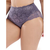 Plus Size High Waist Flora Lace Full Hip Briefs