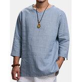 Etnik Rahat Erkekler Uzun kollu V yaka Düz Renk Büyük Beden Gevşek T-Shirt
