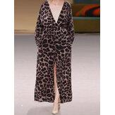 Women Leopard Printed V Neck Long Maxi Dress