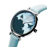 SHENGKE SK K0101 Butterfly Leather Strap Women Quartz Watch