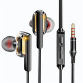 QKZ CK3 Dual Dynamic In-ear Earphone Wired Control Heavy Bass HiFi Headphone with Mic