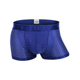 Mens Mesh Breathable Underwear Casual Ice Silk Thin Solid Color Boxers