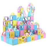 78PCS磁気ブロックビルディングセットマグネットスタッキングおもちゃ子供用マグネットタイルキットギフト