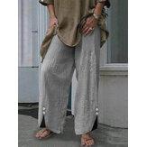 Rahat Kadın elastik bel saf renk pamuk Pantolon