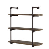 Bookshelf 3 tiers Stroage RackWall Mounted Industrial Piping Vintage Retro Style Metal Shelving. Brackets Only For Home Office Living room