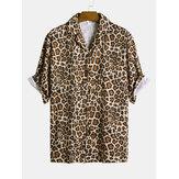 Men Leopard Print Short Sleeve Relaxed Revere Shirts