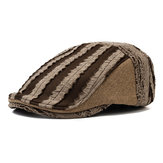 Mens Stripe Beret Caps Casual Outdoor Visor Forward Hat