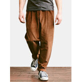 Mens Corduroy Calças Smart Casual Loose Pants Formal Straight Calças