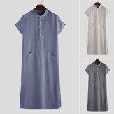 Men's Vintage Loose Short Sleeve Solid Color Long Shirts