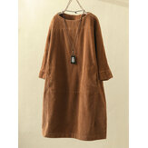 Plus Size Solid Color Corduroy Crew Neck Vintage Dress