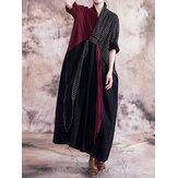 Wanita Lengan Panjang V-neck Longgar Kotak-kotak Patchwork Maxi Dress
