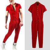 पुरुषों लघु आस्तीन जंपसूट अंचल गर्दन रोमक शरीर सौष्ठव पैंट पैंट सूट