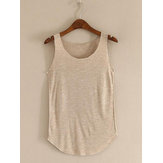 Women Solid Casual O-neck Sleeve Casual Tank Tops