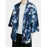 メンズ和風花柄カーディガン着物ルースコート着物ジャケット浴衣ローブ