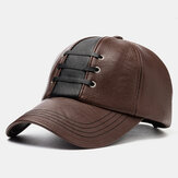 Collrown Men's PU Leather Woven Sombrero Gorra de béisbol cálida Sombreros