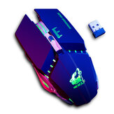 Gratis Wolf X11 Wireless Gaming Mouse 2400 dpi Oplaadbare 7 kleuren ademende achtergrondverlichting Gamer-muizen voor computer Laptop PC