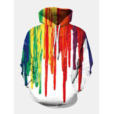 Mens Colorful Graffiti Impresso Manga comprida Pocket Casual Hoodies Sweaters