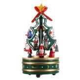 木製クリスマスツリー回転オルゴールおもちゃ子供クリスマスギフトホームデコレーション