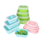 4 Pcs Set Recipientes Dobráveis Silicone Almoço De Armazenamento De Alimentos Geladeira De Microondas Caixa