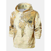 Mens Loose Yellow Map Long Sleeve Print Hoodies Sweatshirt