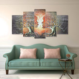 5 Panels Modern Abstract Love Lady Tree Canvas Paintings Prints Wall Art Decor